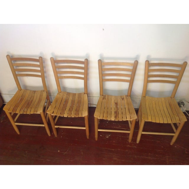Vintage Sparrow Slat Ladder Back Chairs - Set of 4 - Image 6 of 9