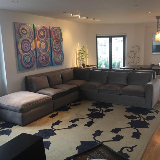 Custom Made Sectional Sofa & Ottoman - Image 2 of 7