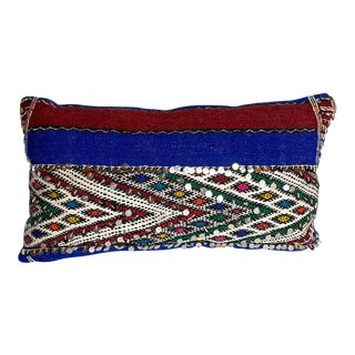 "Vintage Moroccan Lumbar Sequined Pillow, 28"" X 16"" For Sale"
