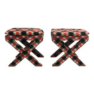 Velvet Plaid X Bench Stools- a Pair For Sale