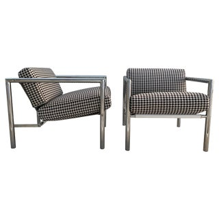 Pair of Vintage 1970s Chrome Chairs in Houndstooth For Sale