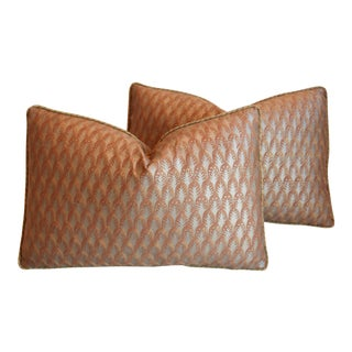 "Italian Mariano Fortuny Piumette Feather/Down Pillows 23"" X 15"" - Pair For Sale"