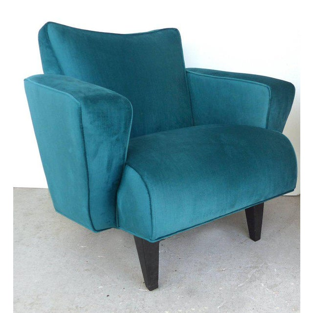 Offered for sale is a pair of Thayer Coggin club chairs upholstered in a rich teal colored Fine quality silk-like velvet...