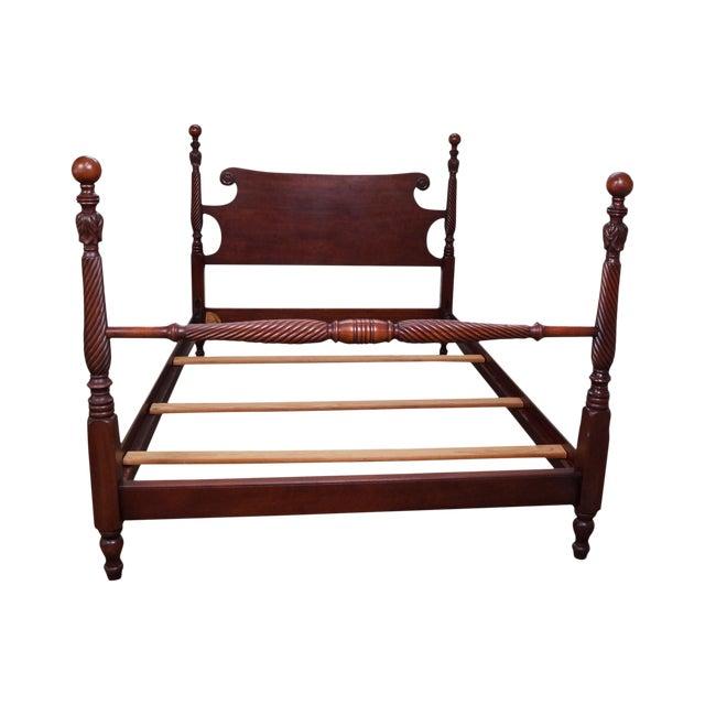 Kindel Mahogany Full Size Cannonball Bed | Chairish