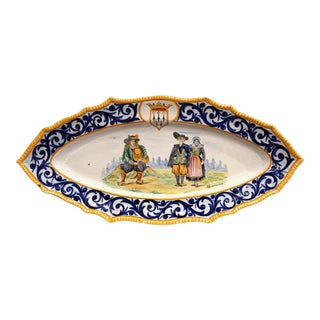 Large Mid-20th Century French Hand-Painted Oval Faience Hb Quimper Wall Platter For Sale