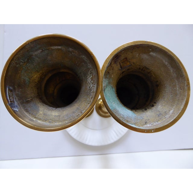Vintage Japanese Brass Candle Holders - a Pair For Sale - Image 5 of 10