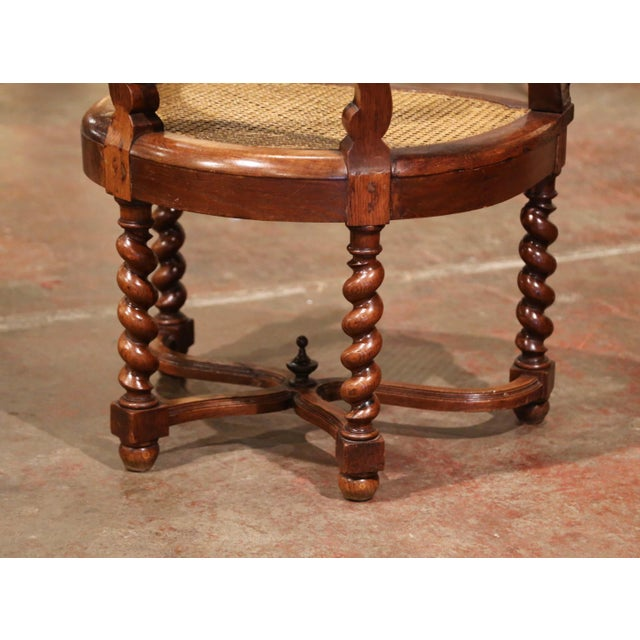 Brown 19th Century French Louis XIII Carved Oak Barley Twist and Caning Desk Armchair For Sale - Image 8 of 12