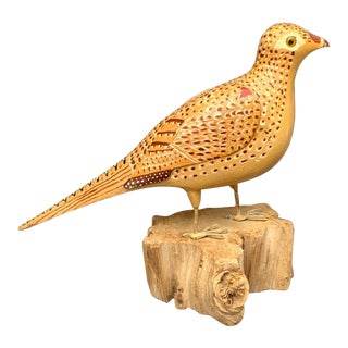 Female Pheasant Hand Carved Model For Sale
