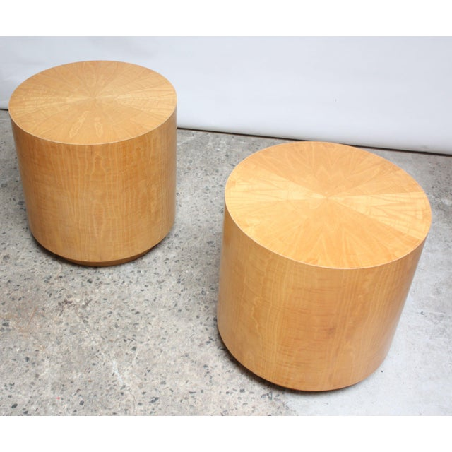 Pair of Large Bookmatched Bird's-Eye Maple Drum Tables - Image 4 of 7