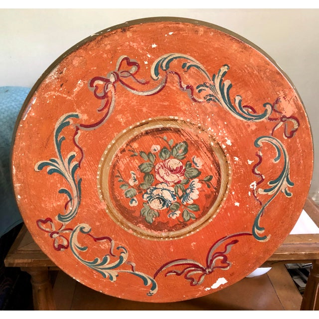 Pumpkin Italian Hand Painted Side Table With Storage For Sale - Image 8 of 10