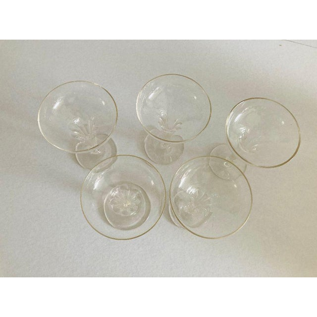 Mid-Century Modern Mid-Century Ribbed Hollow Stem Champagne Glasses - Set of 5 For Sale - Image 3 of 7