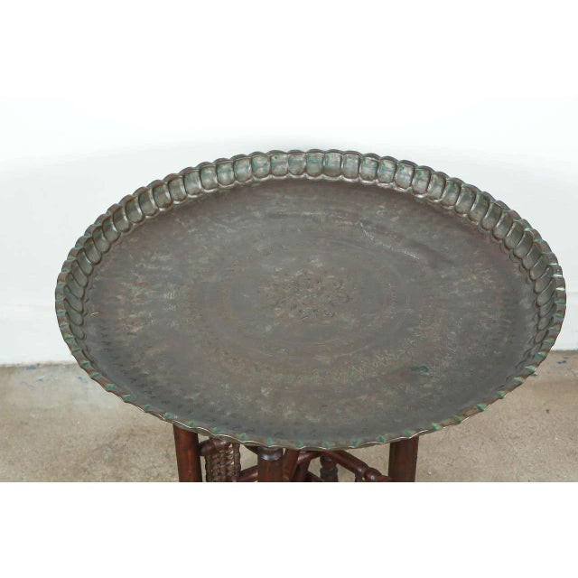 Persian Mameluke tinned copper tray table. Very nice unusual Persian dark bronzed color tray on folding wooden stand...