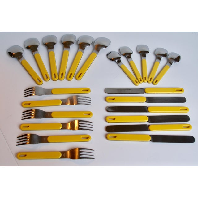 Modern Mod Yellow Flatware - Set of 23 For Sale - Image 3 of 8