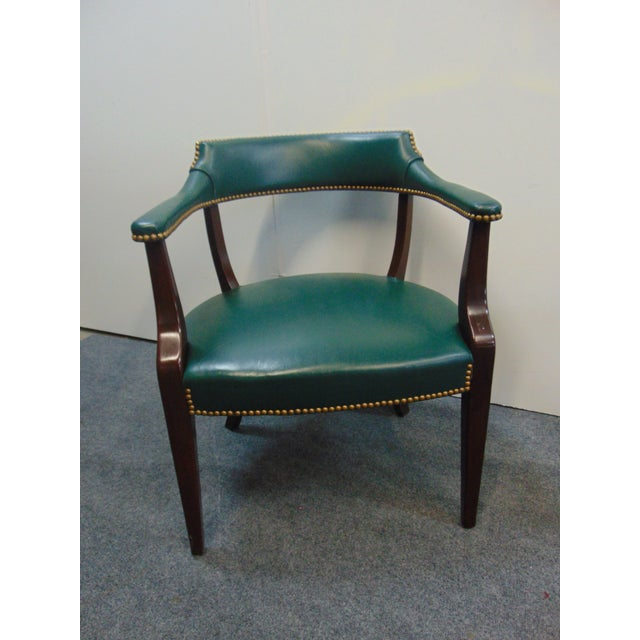 Modern Mahogany & Leather Office Desk Chair For Sale - Image 4 of 7