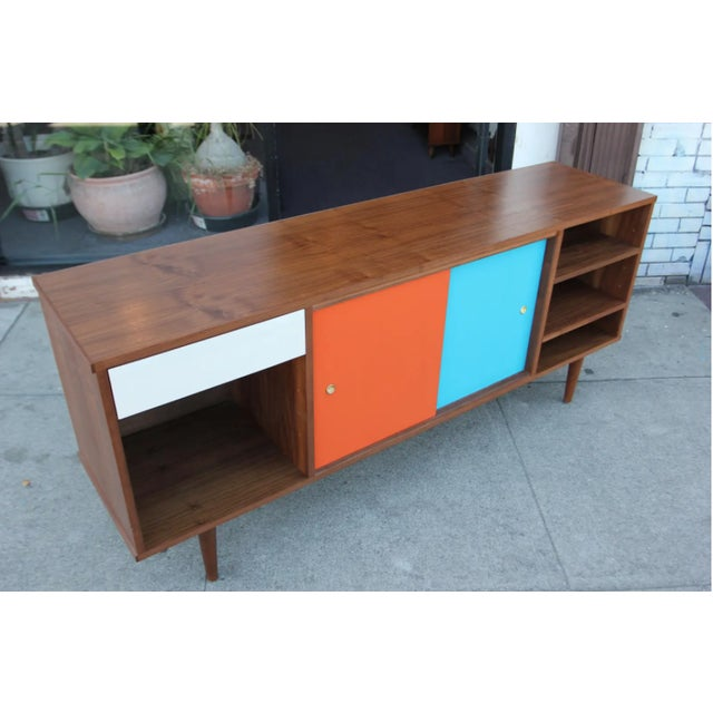 Wood Mid-Century Modern Walnut Credenza with Blue and Orange Accents For Sale - Image 7 of 9