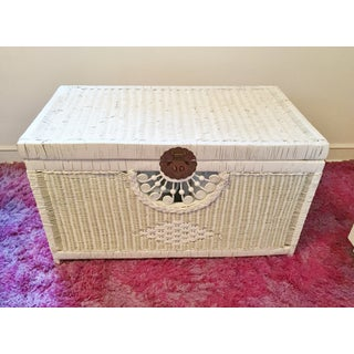 Vintage White Wicker Trunk With Brass Hardware Preview