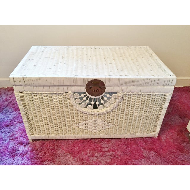 Vintage White Wicker Trunk With Brass Hardware - Image 2 of 5