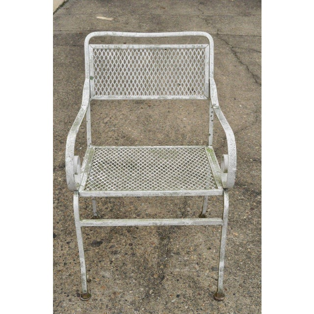 Late 20th Century Vintage Cast Aluminum Scroll Arm Metal Patio Dining Table & Chairs - Set of 7 For Sale - Image 12 of 13