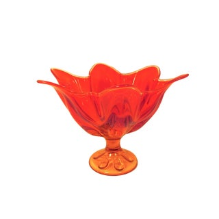 Vintage Viking Epic Persimmon Pressed-Glass Petal Bowl