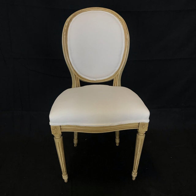 Louis XVI Dining Chairs With Original Paint & Linen Uphostery -Set of 6 For Sale - Image 10 of 13