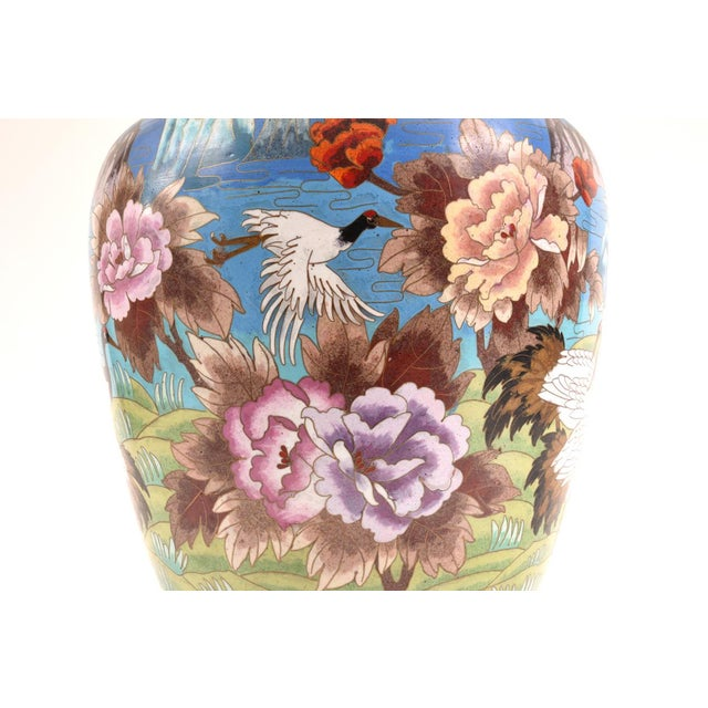Large Decorative Cloisonné With Blossom Flowers Vase For Sale - Image 9 of 13