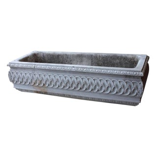 19th Century Antique Carved Marble Planter Watering Trough For Sale