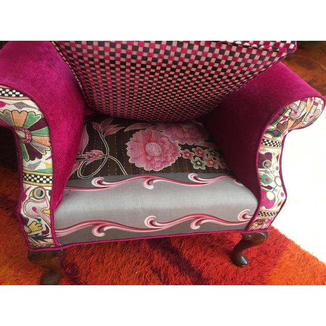 Hot Pink Silk Chenille Velvet Wingback Chair Chairish
