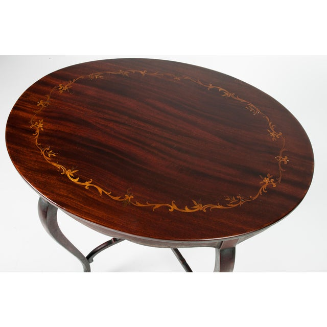 French 1900s Antique Inlaid Top Mahogany End Table For Sale - Image 3 of 5