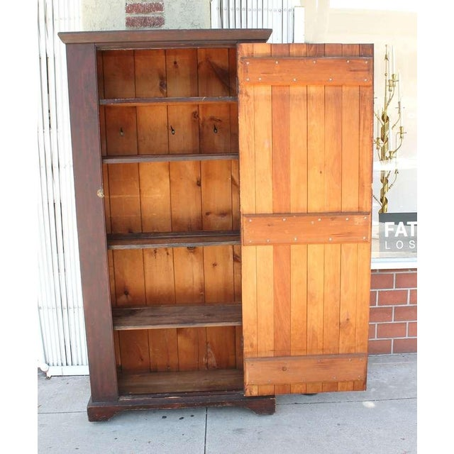 Mid 19th Century Original Brown Painted 19th Century Pennsylvania Wall Cupboard For Sale - Image 5 of 9