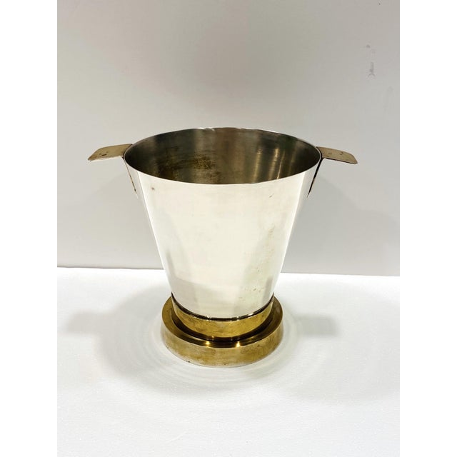 Mid-Century Modern 1970's Art Deco Style Wine Cooler and Ice Bucket With Brass Accents, Italy For Sale - Image 3 of 13