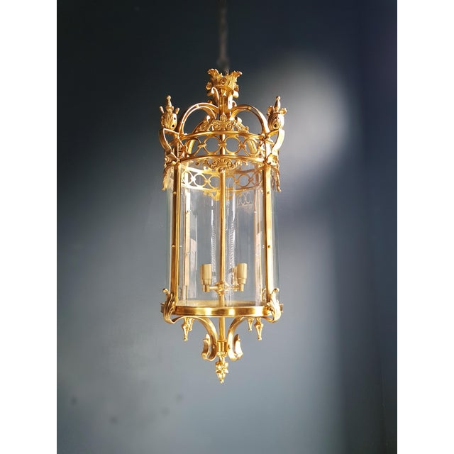 Louis XVI 6 Aviable Large Cylindrical Lantern in Louis XVI Style Brass Glass Pendant Lighting For Sale - Image 3 of 10