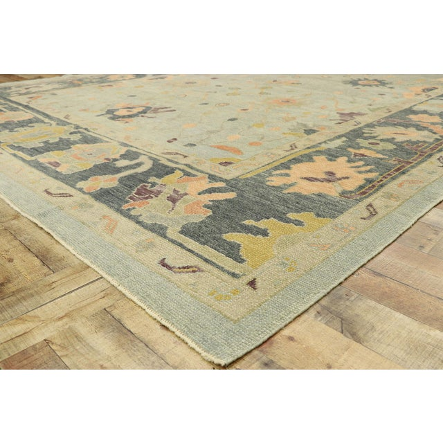 Contemporary Turkish Oushak Rug With Modern Style - 10'03 X 14'02 For Sale In Dallas - Image 6 of 9