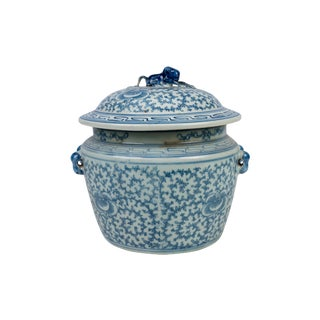 Chinoiserie Floral Blue & White Porcelain Rice Jar For Sale