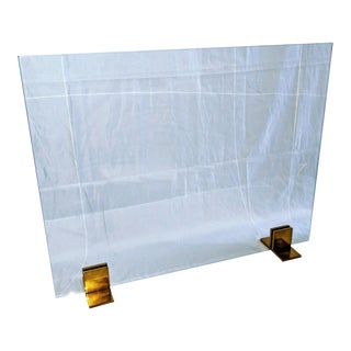 Decorative Glass Fireplace Screen For Sale