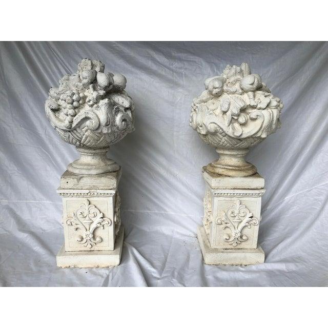 Vintage Mid Century Cast Stone Fruit Basket Finials on Pedestals- a Pair For Sale - Image 11 of 11