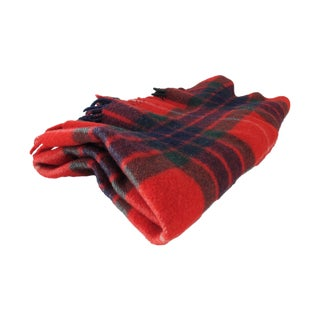 Classic Plaid Wool Blanket For Sale