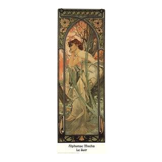 """Alphonse Mucha Le Soir 35.5"""" X 11.75"""" Poster Art Nouveau Brown For Sale"""