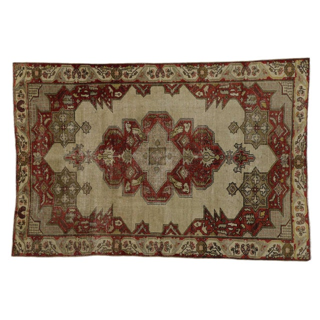 Mid 20th Century Vintage Turkish Oushak Rug With Art Deco Aristocrat Style - 04'08 X 06'11 For Sale - Image 5 of 5