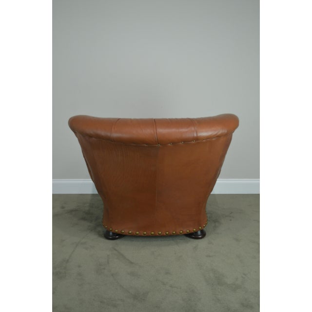 Brown Tufted Leather Writers Club Chair (A) For Sale - Image 11 of 13