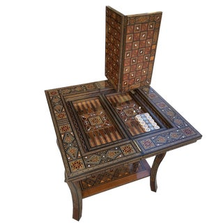 Moorish Mosaic Inlay Folding Game Table For Sale