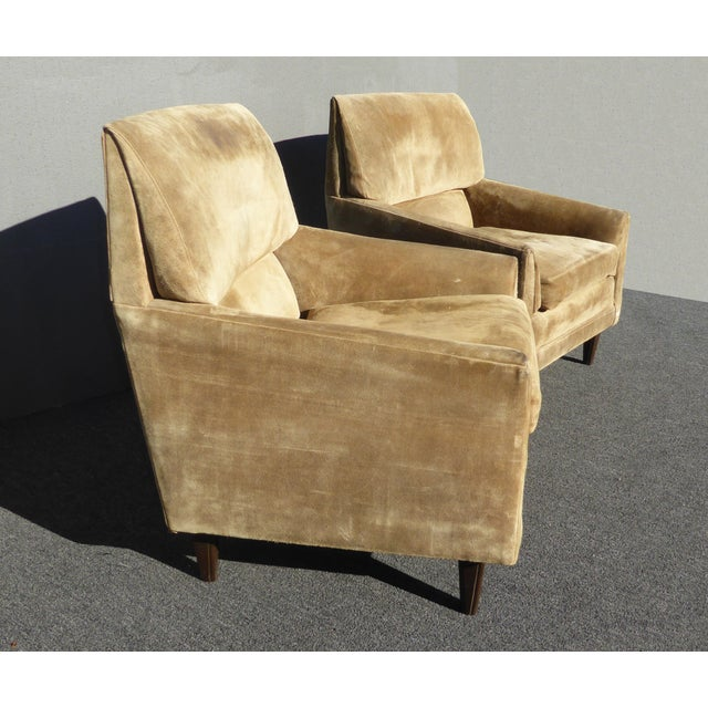 Pair Vintage Marge Carson Mid Century Modern Tan Suede Accent Chairs As-Is Unique Chairs in Fair Vintage Condition. Solid...