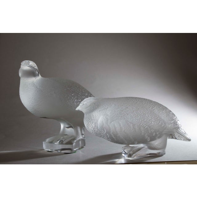 Lalique Lalique Crystal Partridge Figurines - Pair For Sale - Image 4 of 4