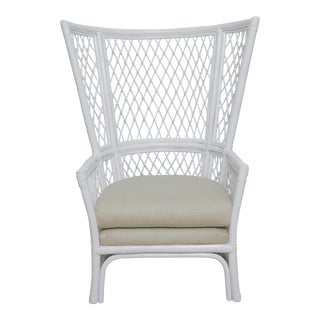 Vintage Reef Diamond Pattern White High Back Cane Chair For Sale
