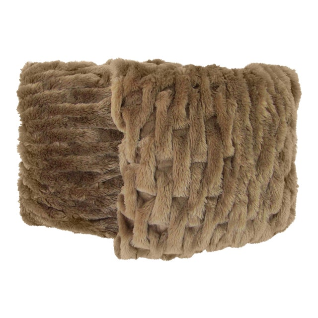 Faux Fur Woven Accent Pillows - A Pair For Sale