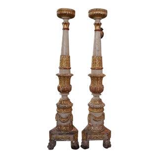 17th Century Italian Altar Candlesticks Pair For Sale