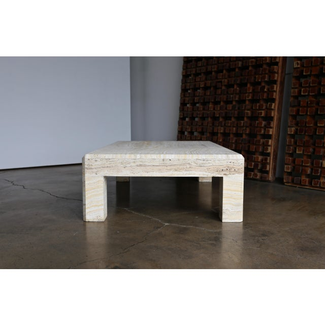 Travertine Coffee Table Circa 1980 For Sale - Image 10 of 13