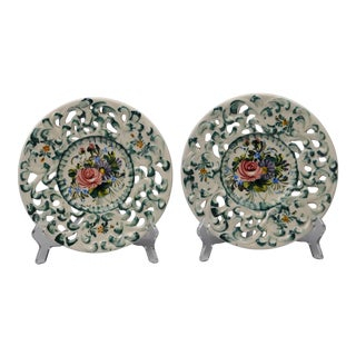 1960s Hand-Painted Pierced Italian Decorative Plates- a Pair For Sale