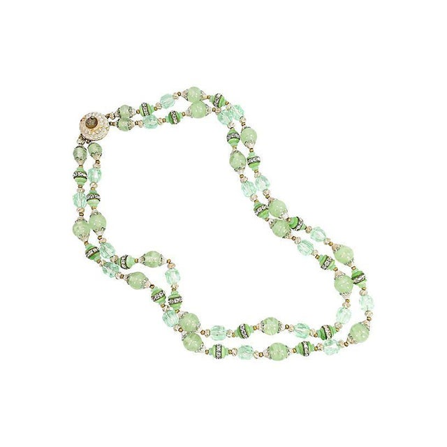 Mid-Century Modern Green Art Glass & Crystal Necklace, 1950s For Sale - Image 3 of 8