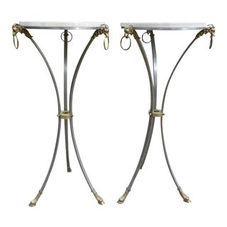 Italian Mid-Century Brushed Steel and Brass Pedestals With Travertine Tops For Sale