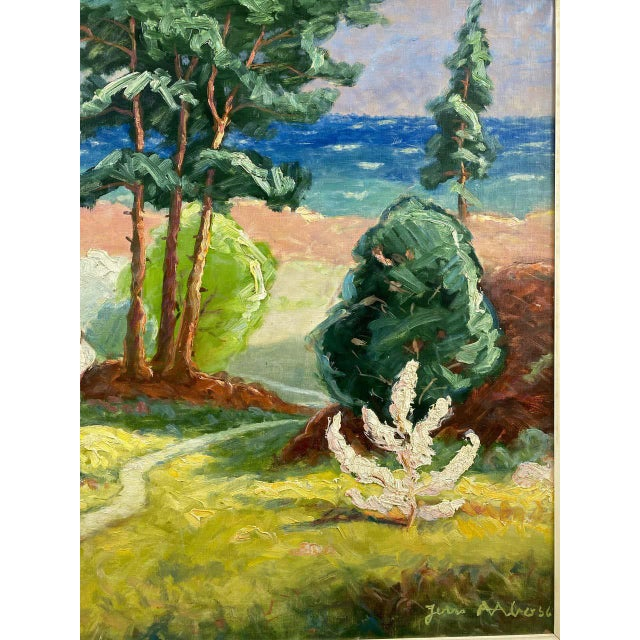 """1950s Jens Aabo """"Danish Coastal Pathway"""", Impressionist Oil Painting, 1956 For Sale - Image 5 of 13"""